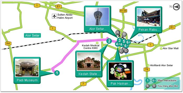 Beautiful Past Time Alor Setar Travel Itinerary Garmin - Alor setar map